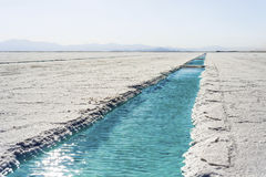 Water pool on Salinas Grandes Jujuy, Argentina. Royalty Free Stock Photography