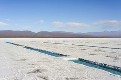 Water pool on Salinas Grandes Jujuy, Argentina. Royalty Free Stock Images