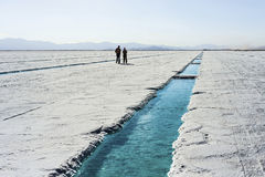 Water pool on Salinas Grandes Jujuy, Argentina. Stock Photography
