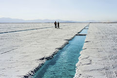 Water pool on Salinas Grandes Jujuy, Argentina. Stock Image