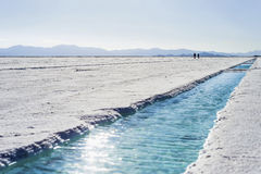 Water pool on Salinas Grandes Jujuy, Argentina. Stock Images