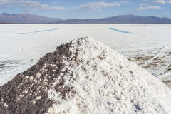 Water pool on Salinas Grandes Jujuy, Argentina. Royalty Free Stock Photo