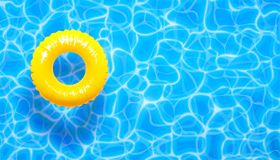 Water pool summer background with yellow pool float ring. Summer blue aqua textured background. Water pool summer background with yellow pool float ring. Vector vector illustration