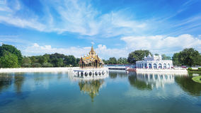 Water pool and Thai style pavilion in the pool with blue sky. Royalty Free Stock Images