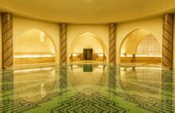 Water pool in a turkish bath in Hassan II Mosque in Casablanca stock image