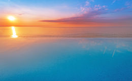 Water pool vacation with sunrise. Background Royalty Free Stock Photos