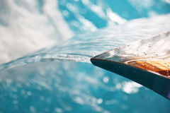 Water in pool and waterfall Stock Photo
