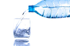 Water poured from a plastic bottle into a glass Royalty Free Stock Photos