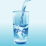 Water poured into a tumbler stock illustration