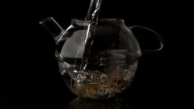 Water pouring into glass teapot over loose herbal tea Royalty Free Stock Photos