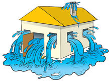 Water pouring out of a house Royalty Free Stock Photo
