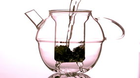 Water pouring over loose tea in teapot Royalty Free Stock Image