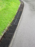 Water Pouring into Street Storm Drain Stock Images