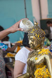 Water pouring to Buddha statue in Songkran festival , thailand Stock Photography