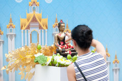 Water pouring to Buddha statue in Songkran festival tradition of. Bangkok,Thailand 2017 Stock Photo