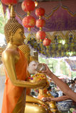 Water pouring to Buddha statue in Songkran festival tradition thailand Stock Photos
