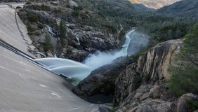 Water Pours from Hetch Hetchy Dam. In California Royalty Free Stock Images