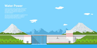 Water power. Picture of water power plant in front of mountains, flat style banner concept of renewable energy and ecological power generation Royalty Free Stock Image