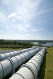 Water power plant. Gigantic water pipes of a power plant Stock Image
