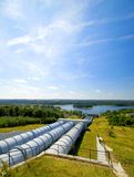 Water power plant. Gigantic water pipes of a power plant Stock Photography