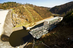 Water power plant. The concrete dam on the river. Stock Images