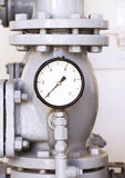 Water pressure gauge. Vintage grey water pressure gauge Stock Images