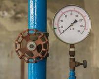 Water pressure meter installed Royalty Free Stock Photos