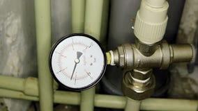 Water pressure meter installed. stock video