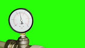 Water pressure meter installed with green screen. stock video footage