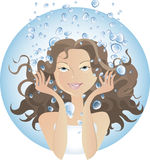 Water procedures. Girl at SPA water procedures or just washing vector illustration