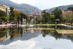 Water Promenade du Paillon in Nice, Frankrijk Royalty-vrije Stock Foto