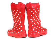 Water-proof boots. Children's water-proof boots on a white background Stock Photos