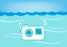 Water-proof Camera submerged Underwater. EPS10 Vector and jpg. Concept vector of underwater white waterproof camera submerged underwater. Vector and EPS royalty free illustration