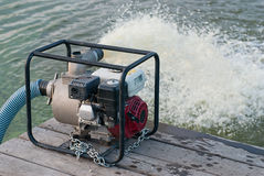 Water pump. Updated water from a lake stock images