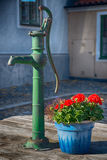 Water pump. In a back yard stock images