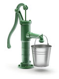 Water pump with the bucket. Green vintage water pump with iron bucket - 3D illustration Stock Photography
