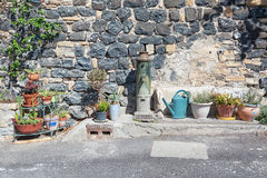 Free Water Pump Decorating And Flower Pots In The Picturesque Village Of Mirabel Ardèche, France. Stock Photo - 86039540