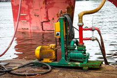 Water pump. External water pump supply fire extinguishing system on the ship stock photos