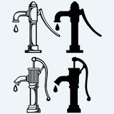 Water pump. Isolated on blue background. Vector silhouettes Royalty Free Stock Image