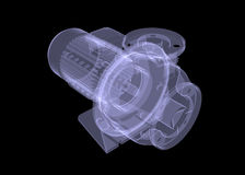 Water pump motor. X-ray render Royalty Free Stock Photo