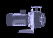 Water pump motor. X-ray render Stock Photo