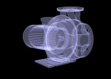 Water pump motor. X-ray render Stock Photos