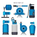 Water pump system. Aqua treatment electronic steel compressor agriculture sewage station vector icons set. Pressure pump, station equipment plumbing stock illustration