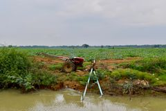 Water pump system, rural countryside, Cambodia stock image