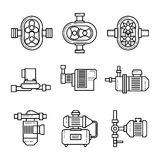 Water pump vector line icons sets. Tube construction metal, system pipe, pressure and control illustration Stock Photo