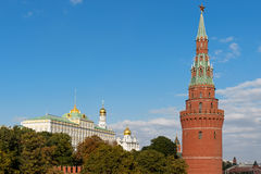 The Water Pump (Vodovzvodnaya) Tower and The Great Kremlin Palac Stock Image
