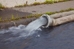 Water Pumping. Pumping out water from a flooded area Royalty Free Stock Photography