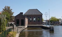 Water pumping station at river Vliet in Leidschendam, the Netherlands Royalty Free Stock Image