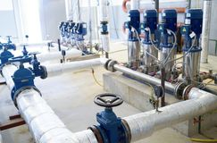 Water pumping station. Valve faucet and pumps stock images