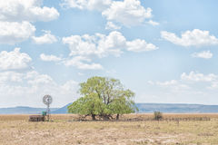 Water-pumping windmill, dam, kraal and willow tree Stock Photography